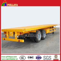 20-40feet 2 or 3 axles flatbed container 4 wheel trailer for heavy duty with high quality main beam(Skeleton optional)