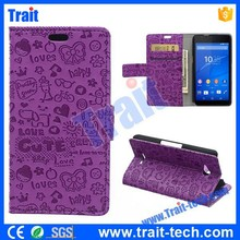 Cartoon Pattern Purple Wallet Flip Stand Leather Case for Sony Xperia E4g, No MOQ,Paypal Accepted
