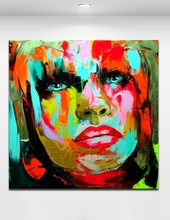 100% handmade modern canvas art Knife painting colorful abstract portrait of woman oil painting