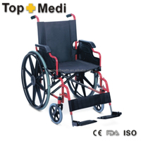 Rehabilitation Therapy Supplies stainless economical manual standard steel wheel chair for disabled people