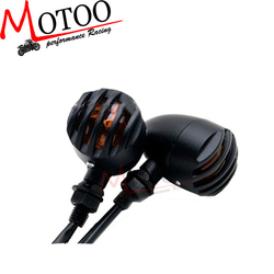 Motoo - Black Turn Signal Lights Blinker Amber FOR Harley cruiser Sportster 883 chopper custom bobber