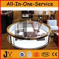 De alta qualidade jóias loja de madeira e vidro redonda jóias display showcase