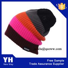 Girls customable stripe beanie/promotional knitting beanie hat