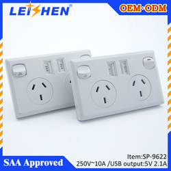 2 AC Outlets australia usb wall socket,Surge Absorber Wall Socket With 2 USB ports and SAA approval