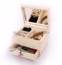 Custom solid unfinished wooden mirror jewelry box,mirrored jewelry box wood