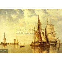 Handmade famous sea and boat painting oils on canvas by Paul Jean Clays