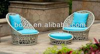 Outdoor Rattan sofa and footstool /Wicker Garden Sofa Set