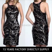 Black Gold Sequin Beaded Halter Fitted Latest Short Dress