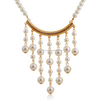 fashion new design gold channel pearl chain pearl beads tassel necklace