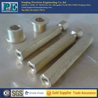 Customized high precision cnc stainless steel hex bar with internal thread