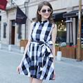 Hjl-c1114 veri gude Sommer neue ärmelloses kleid British Fashion damen überprüfen plus size kleid