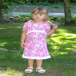 Wholesale baby girls hot pink dress cotton flower short sleeve dress