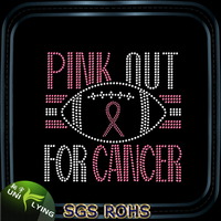 Soccer pink out for cancer hot fix rhinestone motif