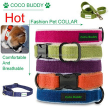 Hypoallergenic solid hemp adjustable dog collar and leash hemp pet supplier