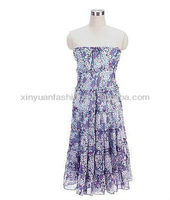 2014 New Design Of Chiffion Printed Chest Wrap Sundress summer dress