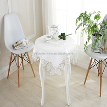 Hot sale new design white lace embroidered tablecloth