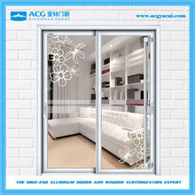 China low price frosted glass sliding closet doors with aluminum frame