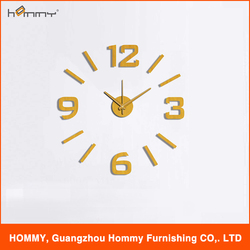 Golden effect diy clock, cheap adhesive clock small quantity accepted