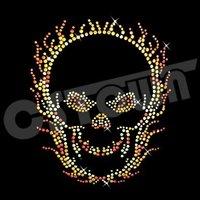 Skull wholesale rhinestone transfer custom design