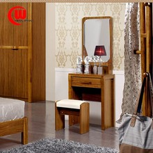 Simple modern Chinese style wooden board with drawer dresser with mirror black walnut color dresser