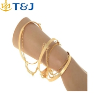 s>>>> New Hot Sell Personality Golden Three Circle Chain Wide Band Upper Arm Cuff Bracelet Armlet Bangles/
