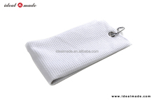 2015 new design WHITE GOLF BAG CLUB TOWEL 100% MICROFIBER WITH HOOK