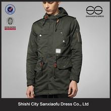 Custom Plus Size Winter Cotton Fleece Hooded Parka Long Coat For Men