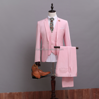 Pink One Button Mens Wear 2015 Hot Sale Free Shipping Customized Made Smoking Casamento (Coat+Pants+Vest) NA03 Tuxedos For Man