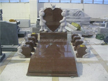 Irish angel bears carving granite children headstone