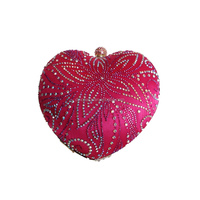 2015 new women fuchsia decorative pattern heart-shaped pave crystal clutch bag