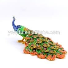 de pavo real de peltre caja de joyería de regalo artículos para la decoración del hogar( qf4279- 1)