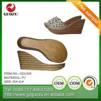 italian fashion casual ladies wedge sandal pu sole