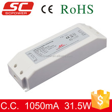 DALI dimmable constant current 30W 1050mA dimming led driver 350mA,500mA,700mA,900mA,1050mA