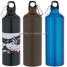 High quality 750ml portable aluminum sports drinking bottle with carabiner eco friendly