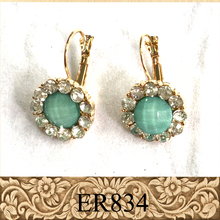 Cute round crystal french clip alloy fashion earrings with resin
