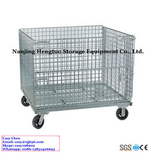 Foldable Metal Storage Cage Wire Mesh Basket with Wheels