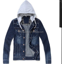 Top popular jacket & brand mens denim jacket with fleece hood