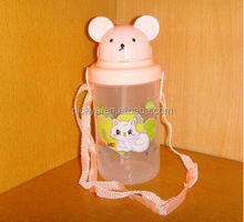 300ml capacity plastic kids Water Bottle with straw for promotion