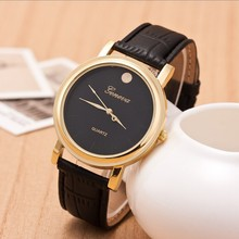 Golden Fashion Men Leather Strap Watches Brand Famous Sports Quartz business Watch Male Clock relogios gift