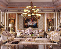 Luxury French Baroque Living Room Sofa Set/Royal Palace Hand Carved Beige Sofa/European Antique Castle Style Exquisite Sofa