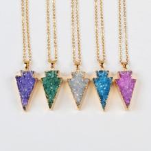 Fashion jewelry arrowhead druzy pendant,druzy geode natural gemstone pendant wholesale
