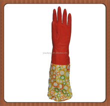 WJ7 red long cuff househod latex gloves warm longer cleaning gloves kitchen gloves