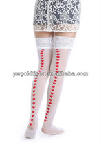 Street Fashion high socks Wholesale Stylist Cool A-list Sheer Jacquard Love Heart Top Lace Transparent Thigh High sexy Stockings