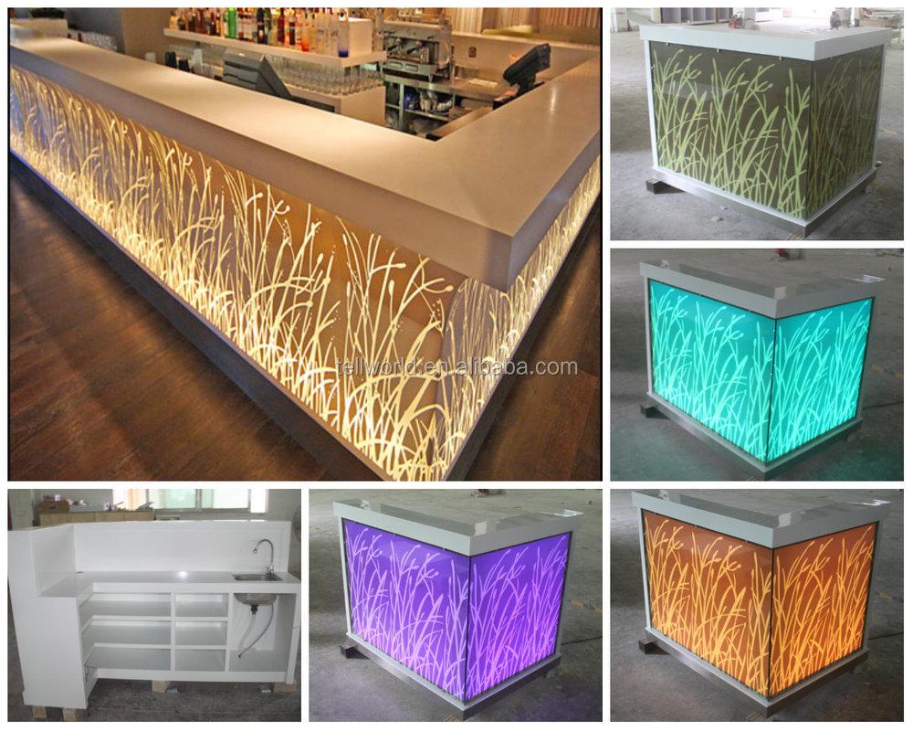 Lighted nightclub bar counter top modern wine bar counter for Modern wine bar design