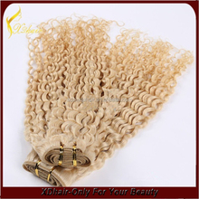 High quality kinky curly hair weft cheap hair blonde curl human hair weave extension