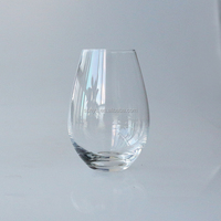 Stemless wine glass customized size popular clear egg shaped crystal drinking water glass