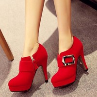 SAA4484 Women shoes fashion latest fancy belt decoration red bridal shoes with thick heel