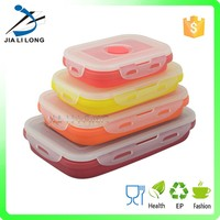 Hot sale silicone collapsible lunch box with lock