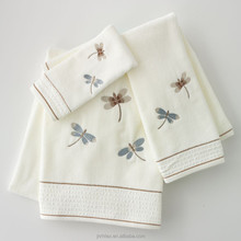 Home classic dragonfly white velour bath towel for sex girl