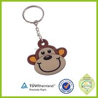 Lovely good quality custom design rubber pvc funky monkey keychain